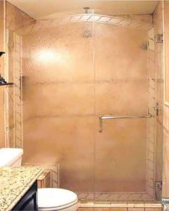 Custom Glue Chip Shower Door Designs