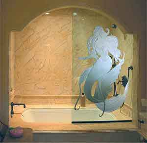Sandblasted shower door glass enhances glass surfaces with deep carved custom elegance