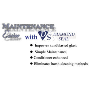 Diamond Seal shower mainentance protects the look of sandblasted glass